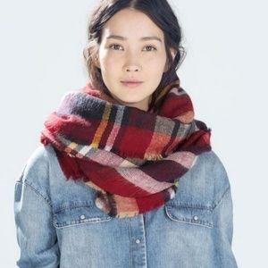 Zara Accescories Plaid Tartan Scarf Wrap